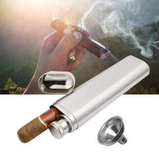 Burls Brand Personalized Flask Cigar Case